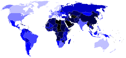 Democracy Index as published in January, 2007. The palest blue countries get a score above 9.5 out of 10 (with Sweden being the most democratic country at 9.88), while the black countries score below 2 (with North Korea being the least democratic at 0.86).